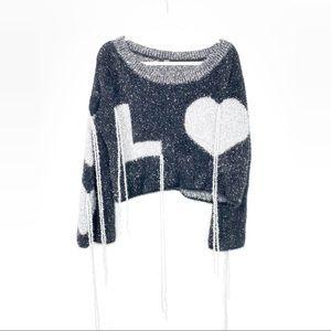 Boutique NEW Black Silver Metallic LOVE Sweater
